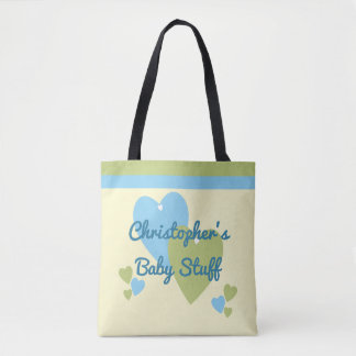 Personalized name green and blue baby toys tote bag