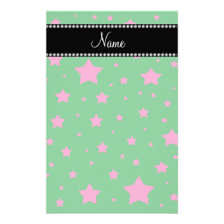 Personalized name Green and Pink stars Stationery Design