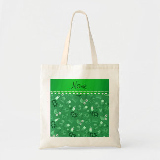 Personalized name green baby animals budget tote bag
