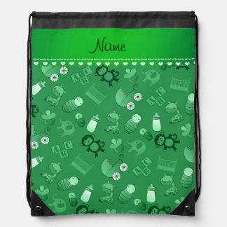 Personalized name green baby animals drawstring bag
