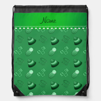 Personalized name green baby blocks mobile toys drawstring backpacks