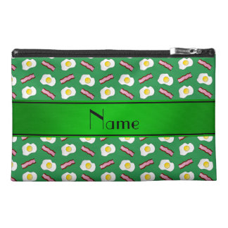 Personalized name green bacon eggs travel accessory bags