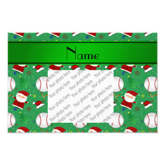 Personalized name green baseball christmas photo