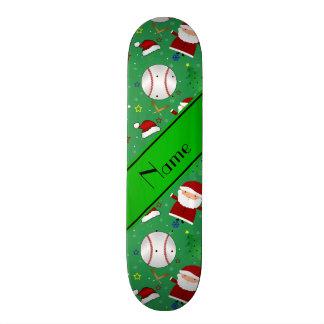 Personalized name green baseball christmas skate deck