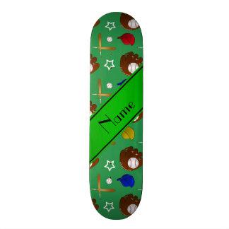 Personalized name green baseball glove hats balls skateboard deck