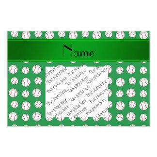 Personalized name green baseballs pattern photo art