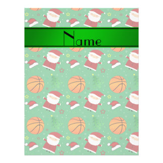 Personalized name green basketball christmas full color flyer