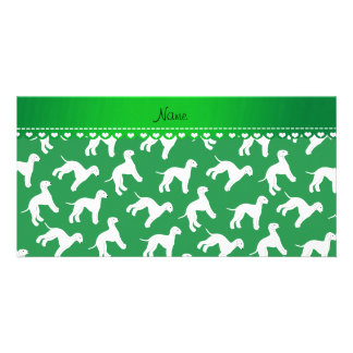 Personalized name green bedlington terrier dogs customised photo card