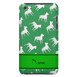 Personalized name green bull terrier dogs barely there iPod case