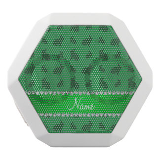 Personalized name green bunnies white boombot rex bluetooth speaker