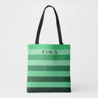 Personalized Name Green Color Block Stripes Tote Bag