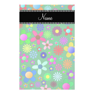 Personalized name green colorful retro flowers stationery paper