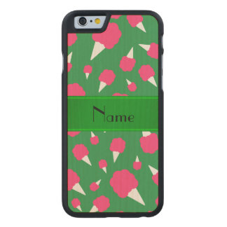 Personalized name green cotton candy carved® maple iPhone 6 slim case