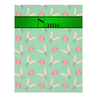 Personalized name green cricket pattern 21.5 cm x 28 cm flyer
