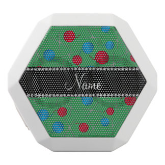Personalized name green crochet pattern white boombot rex bluetooth speaker