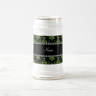 Personalized name green damask mugs