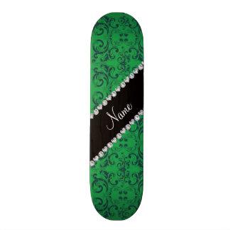 Personalized name green damask swirls 21.6 cm old school skateboard deck