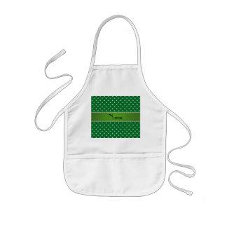 Personalized name green diamonds green stripe kids' apron