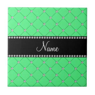 Personalized name Green diamonds Ceramic Tiles