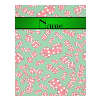 Personalized name green dice pattern 21.5 cm x 28 cm flyer