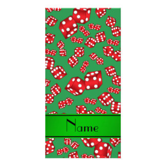 Personalized name green dice pattern photo card