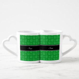 Personalized name green dog paw prints couples mug