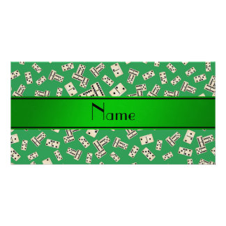 Personalized name green dominos personalized photo card