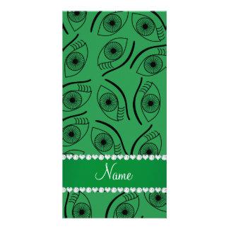 Personalized name green eye pattern photo card