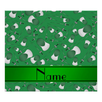 Personalized name green fencing pattern poster