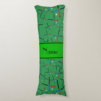 Personalized name green field hockey pattern body pillow
