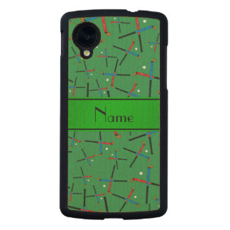Personalized name green field hockey pattern carved® maple nexus 5 slim case
