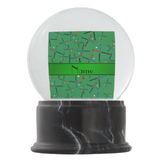 Personalized name green field hockey pattern snow globes