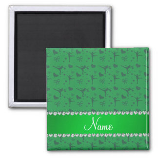 Personalized name green figure skating fridge magnet