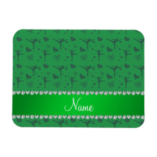 Personalized name green figure skating rectangle magnets