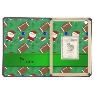 Personalized name green football christmas cover for iPad air