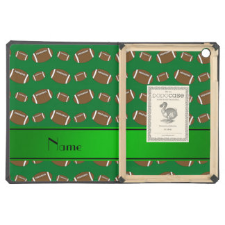 Personalized name green footballs green stripe iPad air cases