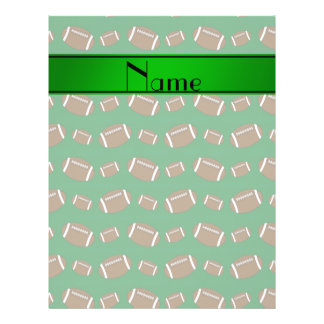 Personalized name green footballs green stripe full color flyer