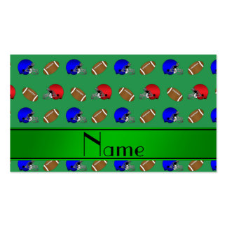 Personalized name green footballs helmets business cards