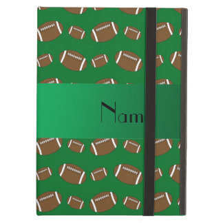 Personalized name green footballs cover for iPad air