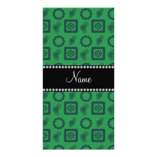 Personalized name green funky retro flowers photo cards