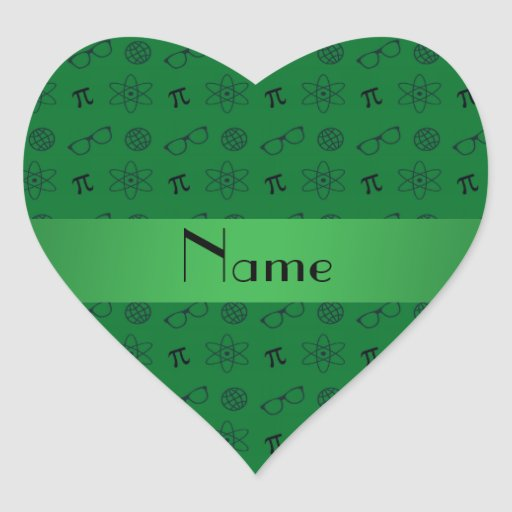 Personalized name green geek pattern heart stickers