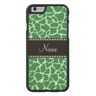 Personalized name green giraffe pattern carved® maple iPhone 6 case