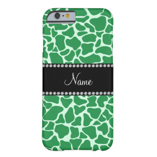 Personalized name green giraffe pattern barely there iPhone 6 case