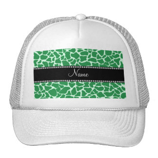 Personalized name green giraffe pattern trucker hat