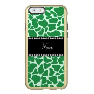 Personalized name green giraffe pattern incipio feather® shine iPhone 6 case