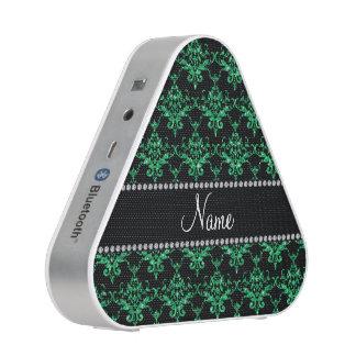 Personalized name green glitter damask