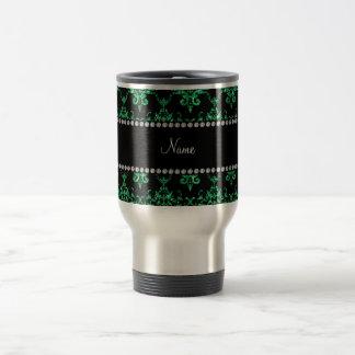 Personalized name green glitter damask coffee mugs