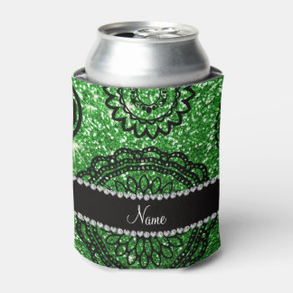 Personalized name green glitter mandalas can cooler