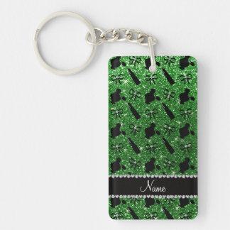 Personalized name green glitter perfume lipstick Single-Sided rectangular acrylic keychain