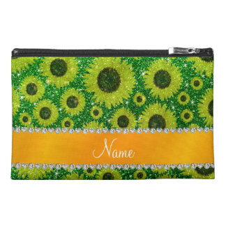 Personalized name green glitter sunflowers travel accessories bags